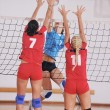 Girls playing volleyball indoor game — Stock Photo #6965891