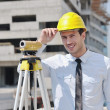 Architect on construction site — Stockfoto