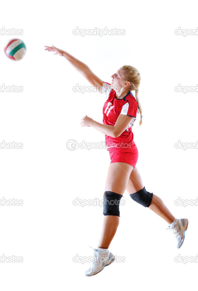 Volleyball game sport with neautoful young girl oslated onver white background  Stock Photo #6972099