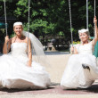 Beautiful brides outdoor — 图库照片