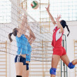 Girls playing volleyball indoor game — Stockfoto