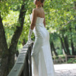 Beautiful bride outdoor — Stockfoto