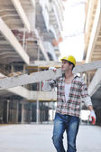 Hard worker on construction site — Stock Photo