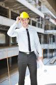 L'architecte sur le chantier de construction — Photo