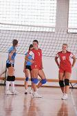 Ragazze che giocano a pallavolo indoor — Foto Stock