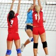 Girls playing volleyball indoor game — Stok fotoğraf