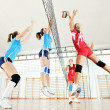 Girls playing volleyball indoor game — Stock Photo #7076635