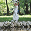 Beautiful bride outdoor - Stockfoto
