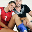 Young group in fitness club - Foto Stock