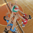 Girls playing volleyball indoor game - Stock Photo