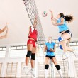 Girls playing volleyball indoor game — Stock Photo #7105544