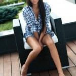 Beautiful young lady posing in garden — Stock Photo #7306857