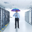 young it engeneer in datacenter server room — Stock Photo #7331718
