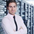 young it engeneer in datacenter server room — Stock Photo #7332526