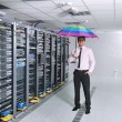 young it engeneer in datacenter server room — Stock Photo #7333288