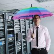 young it engeneer in datacenter server room — Stock Photo #7333480