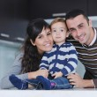 Happy young family have fun at home — Stock Photo #7405615