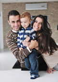 Happy young family have fun at home — Foto de Stock