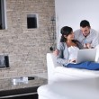 Joyful couple relax and work on laptop computer at modern home — Stock Photo #7590399