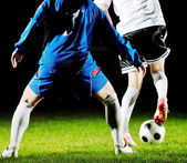 Football players in action for the ball — Stock Photo