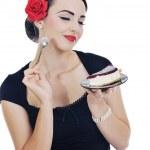 Beautiful young woman eat sweet cake — Stock Photo #7725214