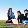 Group of teens working on laptop outdoor — Stock Photo #7830828
