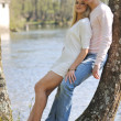 Romantic couple in love outdoor - Stock Photo