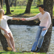 Romantic couple in love outdoor - Stock fotografie