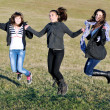 Group of teens have fun outdoor — Photo