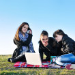 Group of teens working on laptop outdoor — Stock Photo #7940939