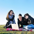 Royalty-Free Stock Photo: Group of teens working on laptop outdoor