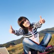Teen girl study outdoor — Stock Photo