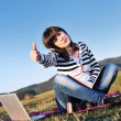 Stock Photo: Teen girl study outdoor