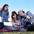 Group of teens working on laptop outdoor — Stockfoto #7941044
