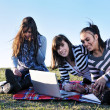 Group of teens working on laptop outdoor — Stock Photo #7941045