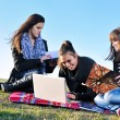 Group of teens working on laptop outdoor — Stock Photo