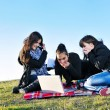Group of teens have fun outdoor — Foto de Stock