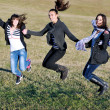 Group of teens have fun outdoor — 图库照片