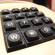 Stock Photo: Old retro phone with a modern digital numpad