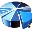 Pie chart with black arrow - Stock Photo