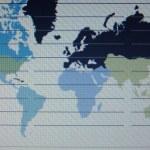 świat makro mapa na ekran tft — Zdjęcie stockowe
