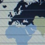 Welt Karte Makro auf Tft-Bildschirm — Stockfoto