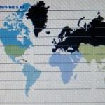 Всемирная карта макрос на экране tft — Стоковое фото