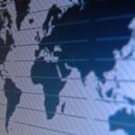 世界地图宏 tft 屏幕上 — 图库照片