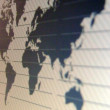 Stock Photo: World map macro on tft screen