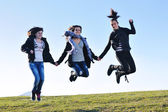 Group of teens have fun outdoor — Stock Photo