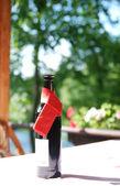Wine bottle on table — Stock Photo