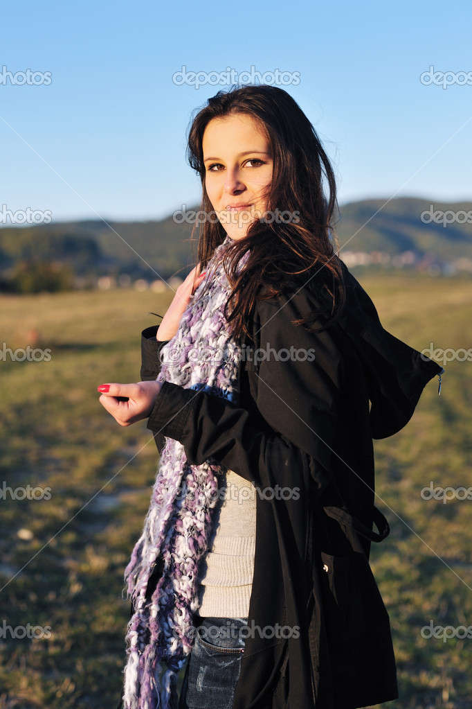 Group of teen woman  have fun outdoor with blue sky in background  Stock Photo #7941181