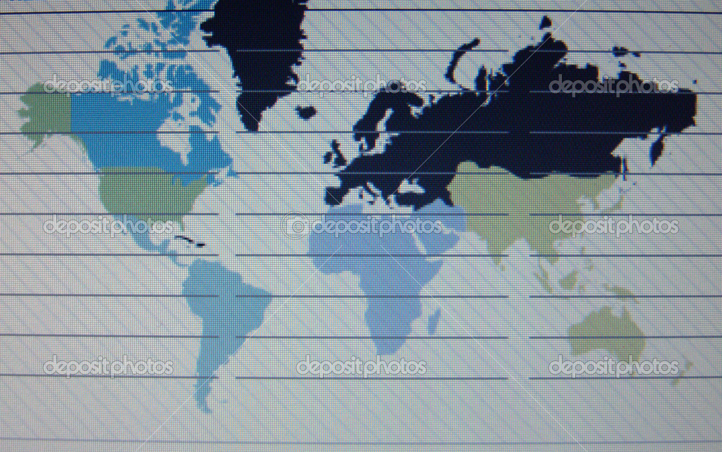 World map macro on tft screen  Stock Photo #7943608