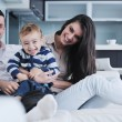 Happy young family have fun at home — Stock Photo
